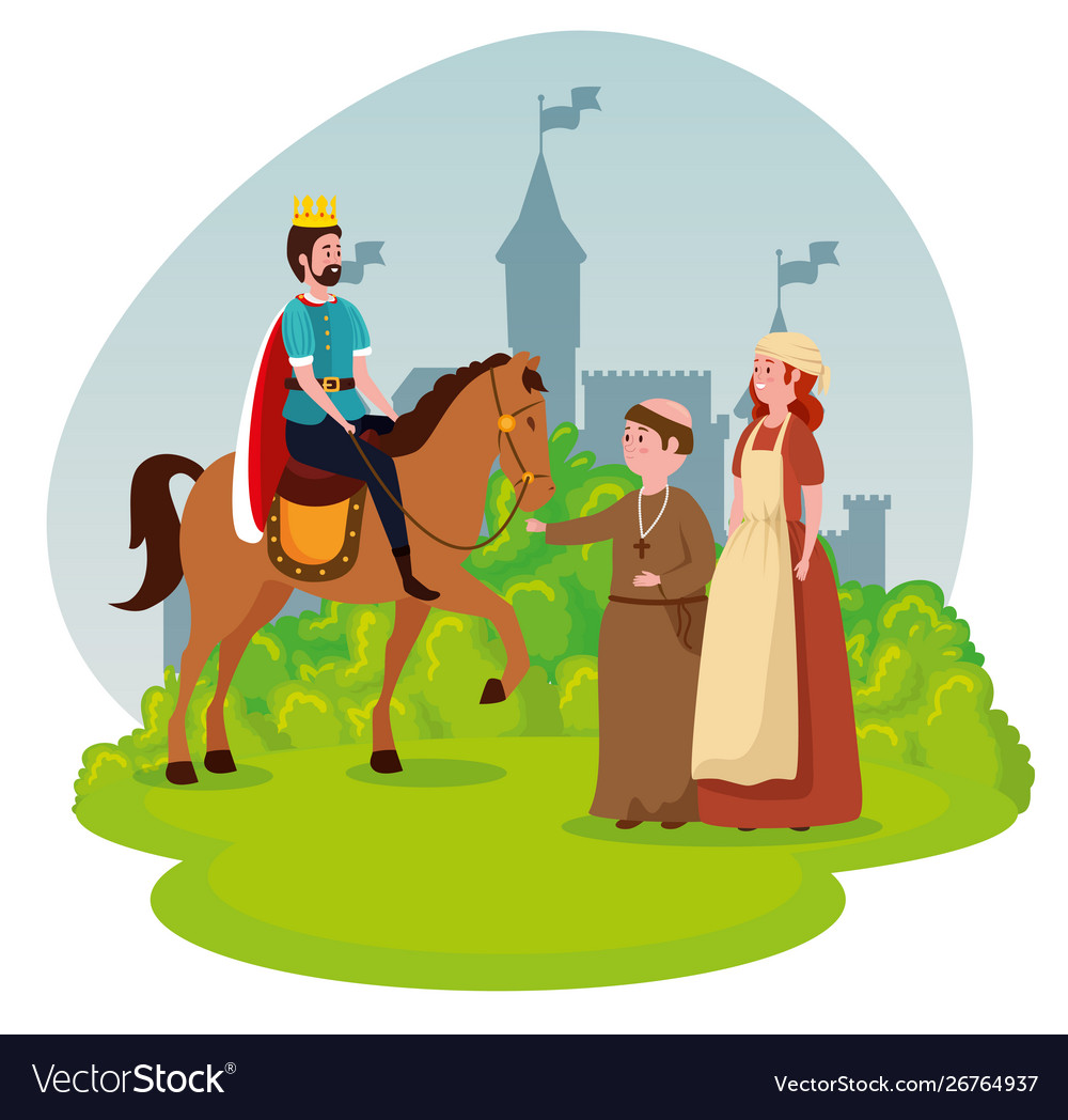 King Riding Horse With Monk And Woman Mediaval Vector Image
