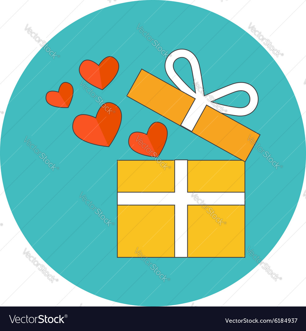 Open gift box with flying hearts Flat design Icon
