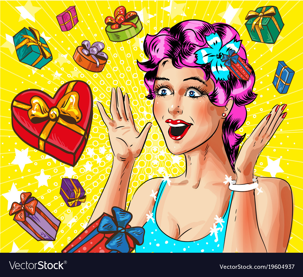 Pop art happy young woman with gift boxes