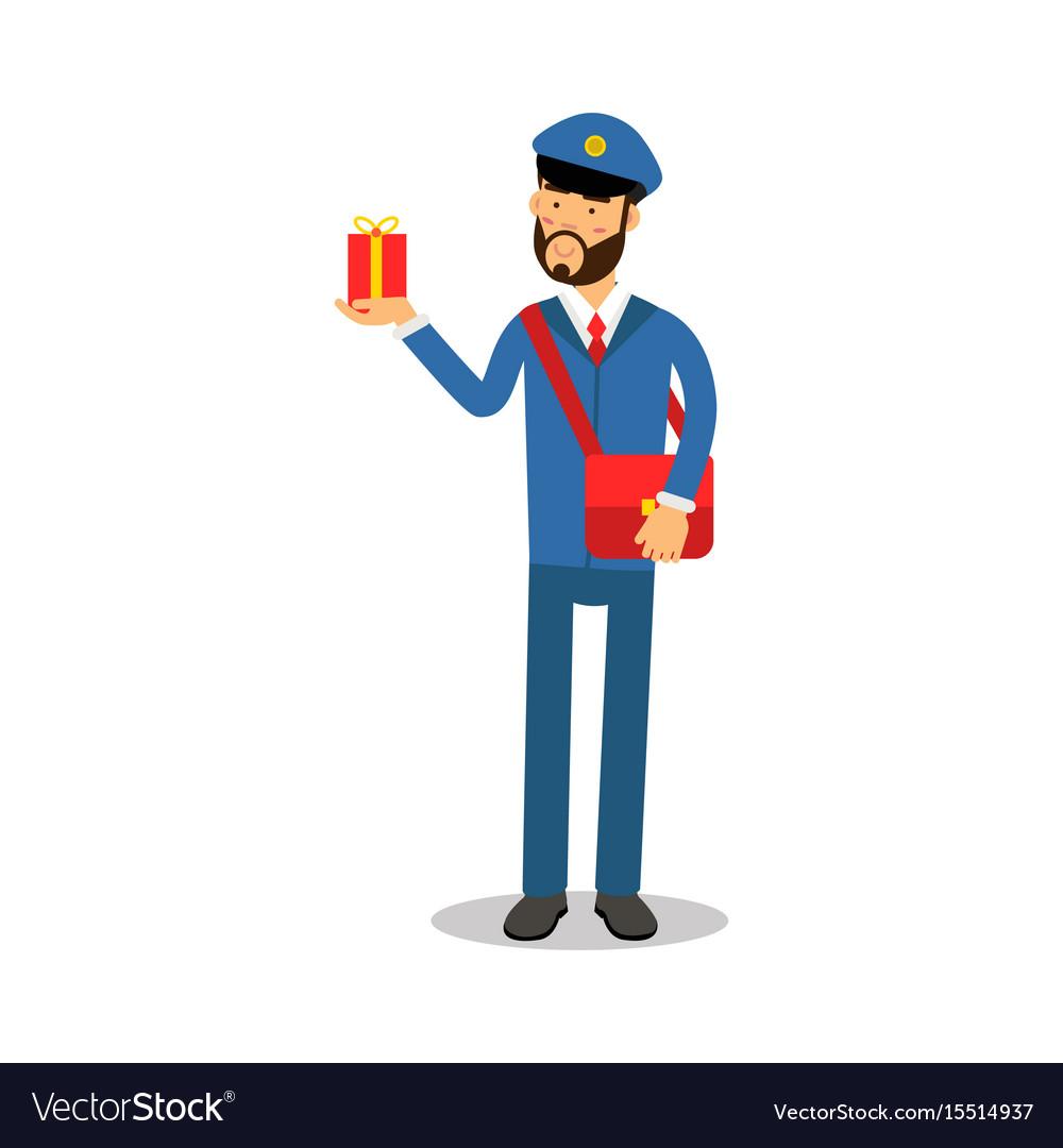 Postman in blue uniform with red bag delivering