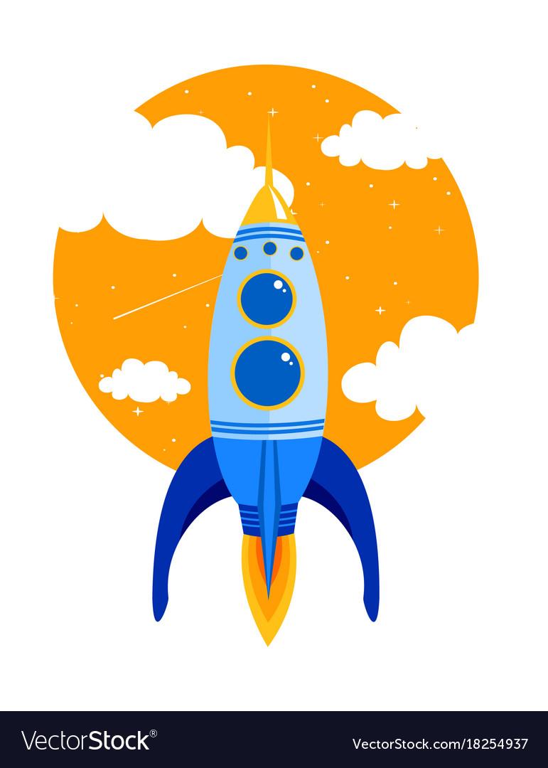 Rocket quick flies in sky