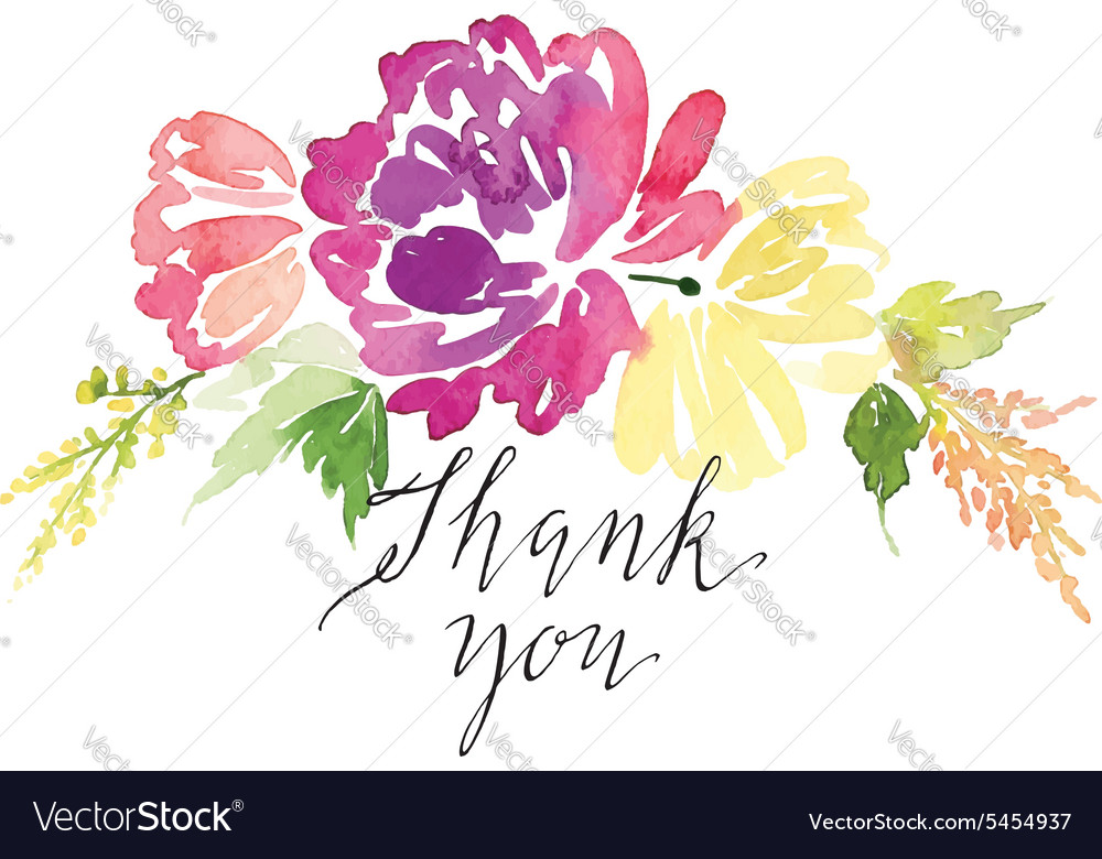 Watercolor greeting card flowers handmade