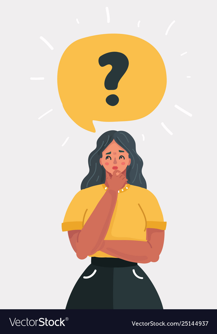 Woman with question mark in think bubble