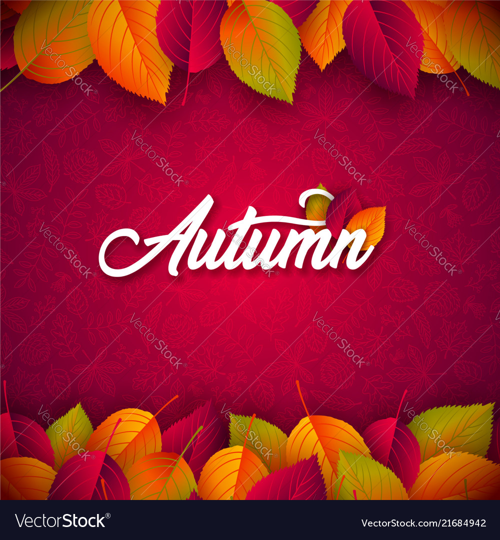 Autumn with falling leaves and