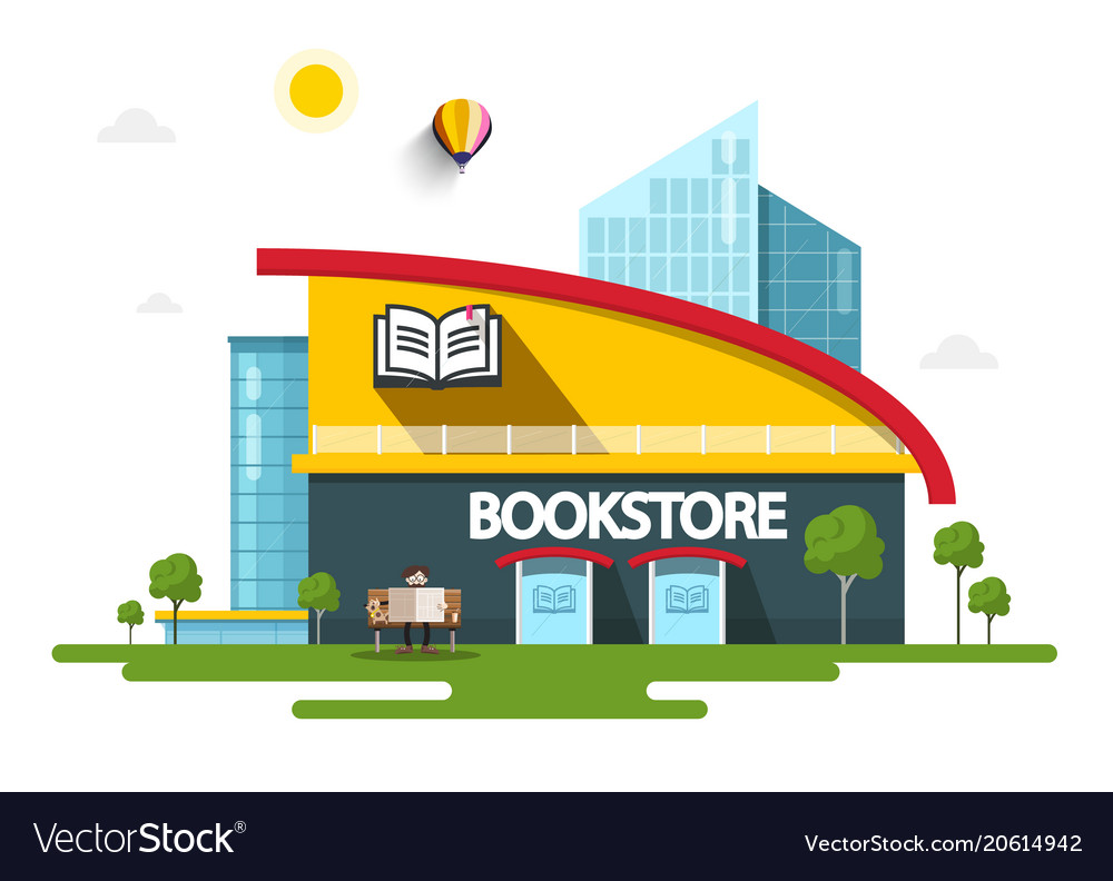 Bookstore building with book symbol on facade