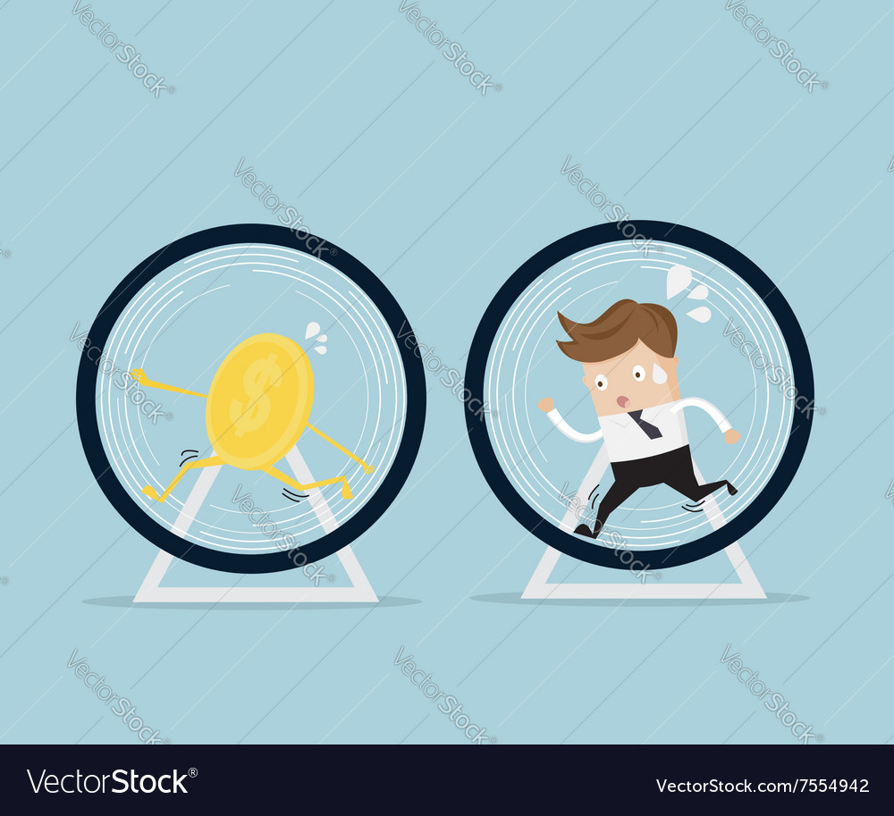 Businessman and coin running in hamster wheel vector image