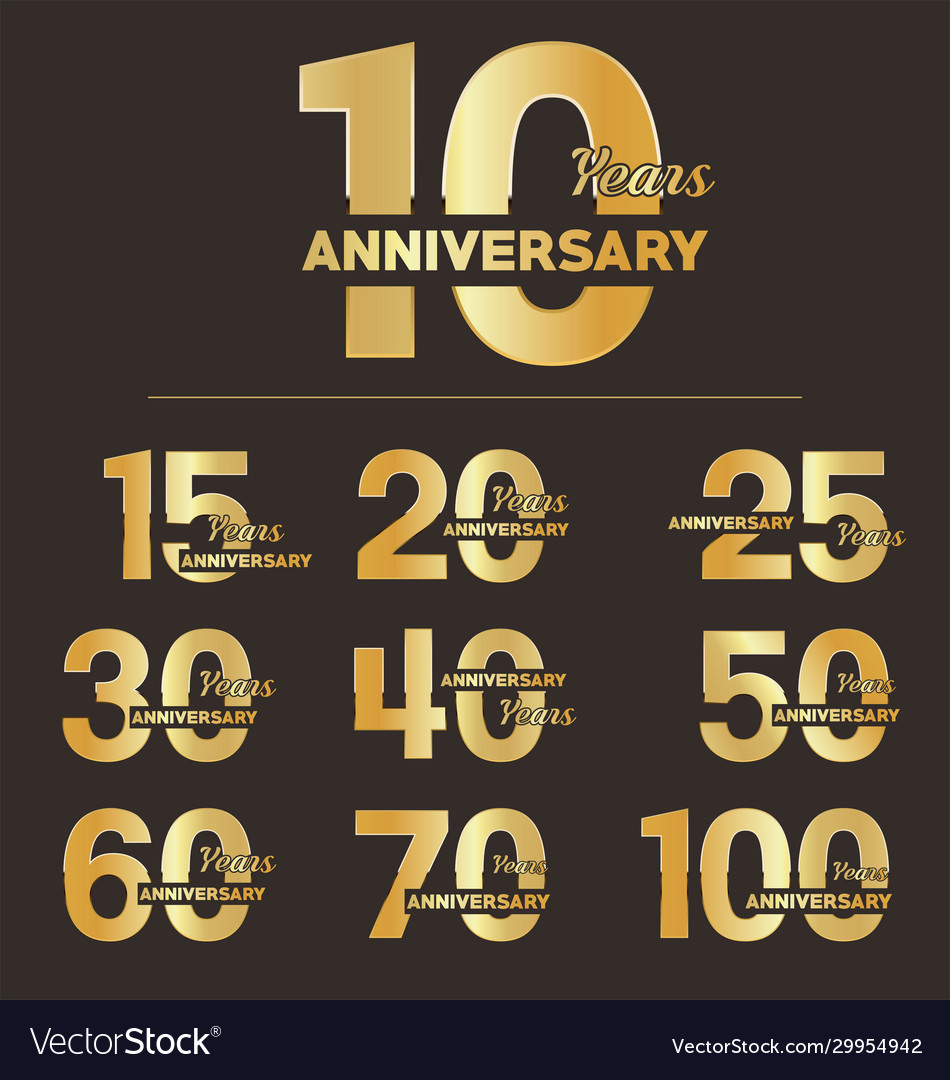 Collection anniversary golden logotype