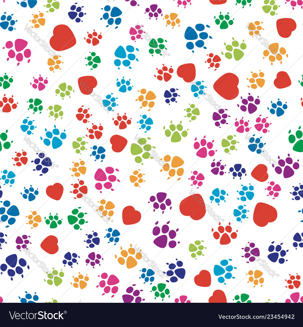Colorful dog footprint and red heart symbols