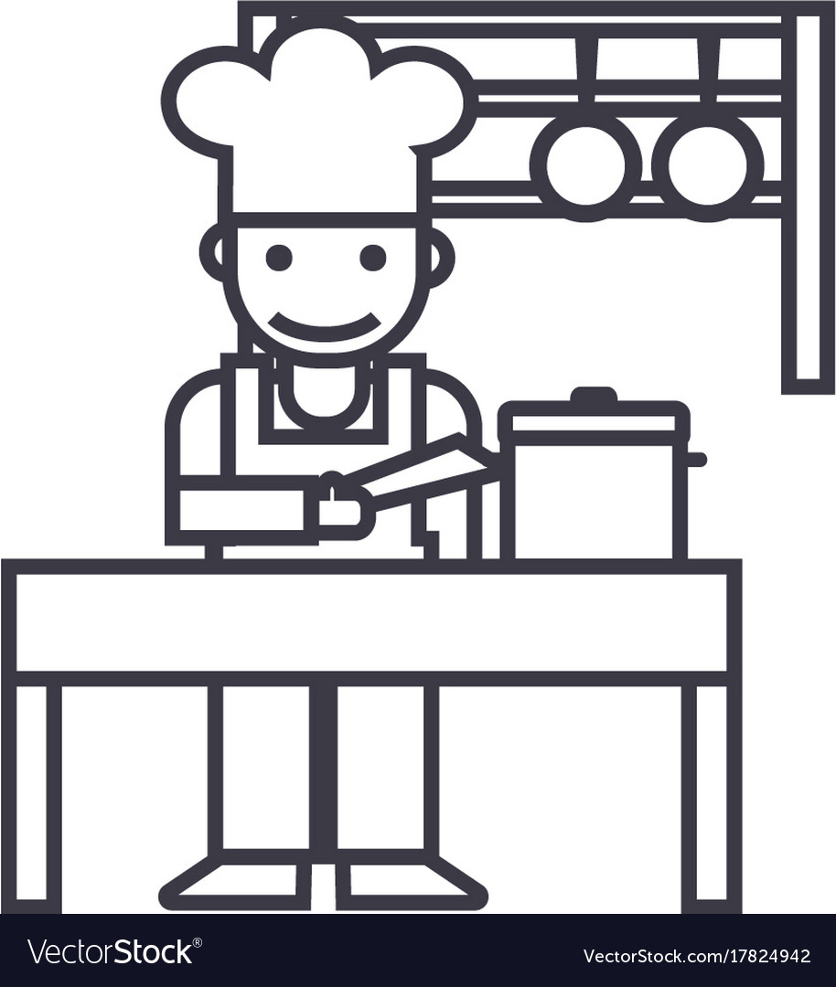 Cookershefkitchen restaurant line icon