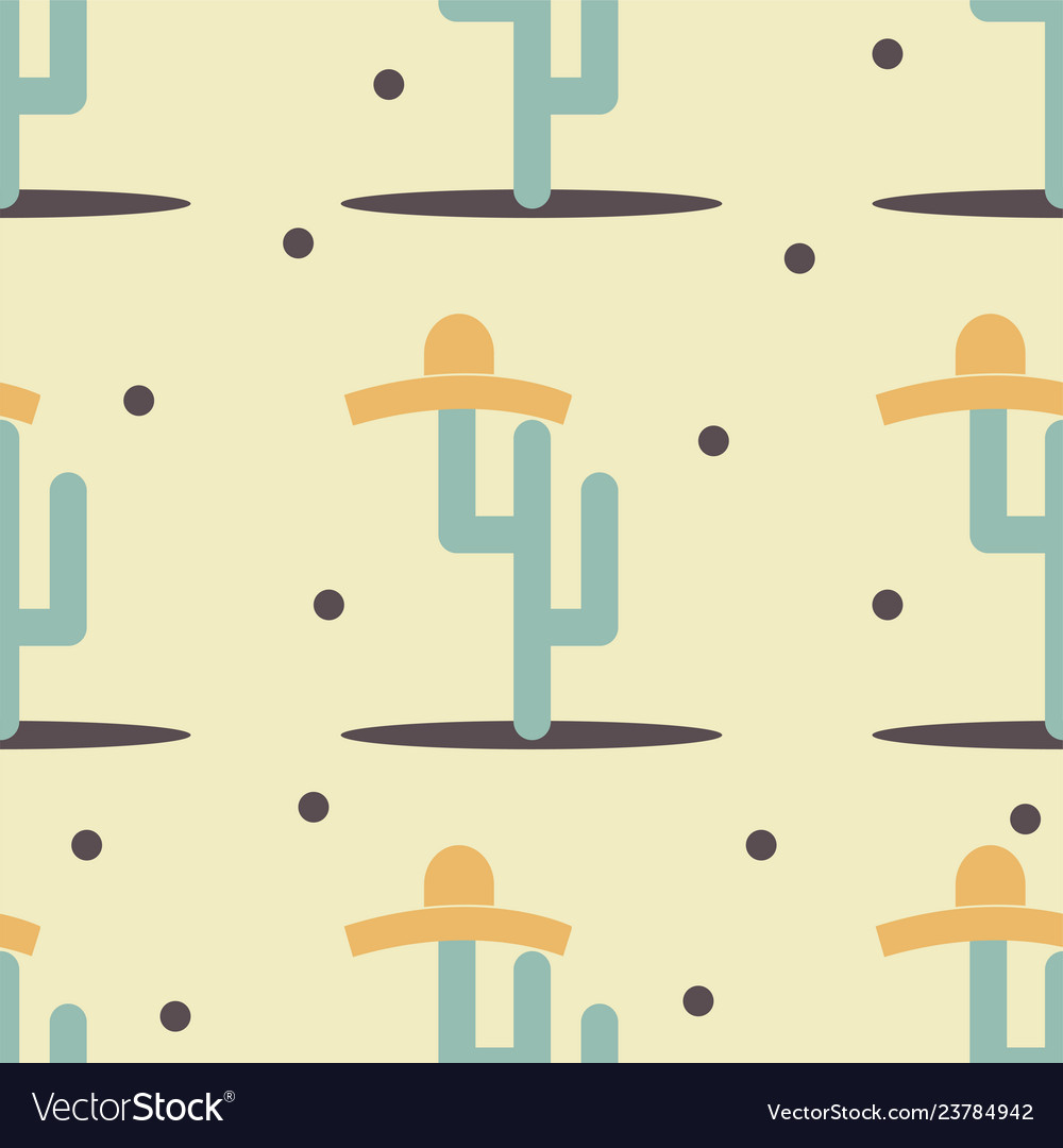 Cute funny cactus with sombrero print for texture