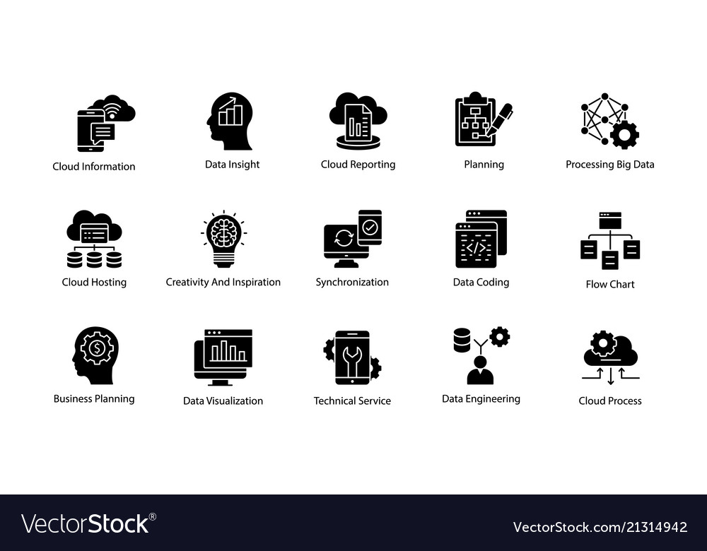 Data science solid icons set