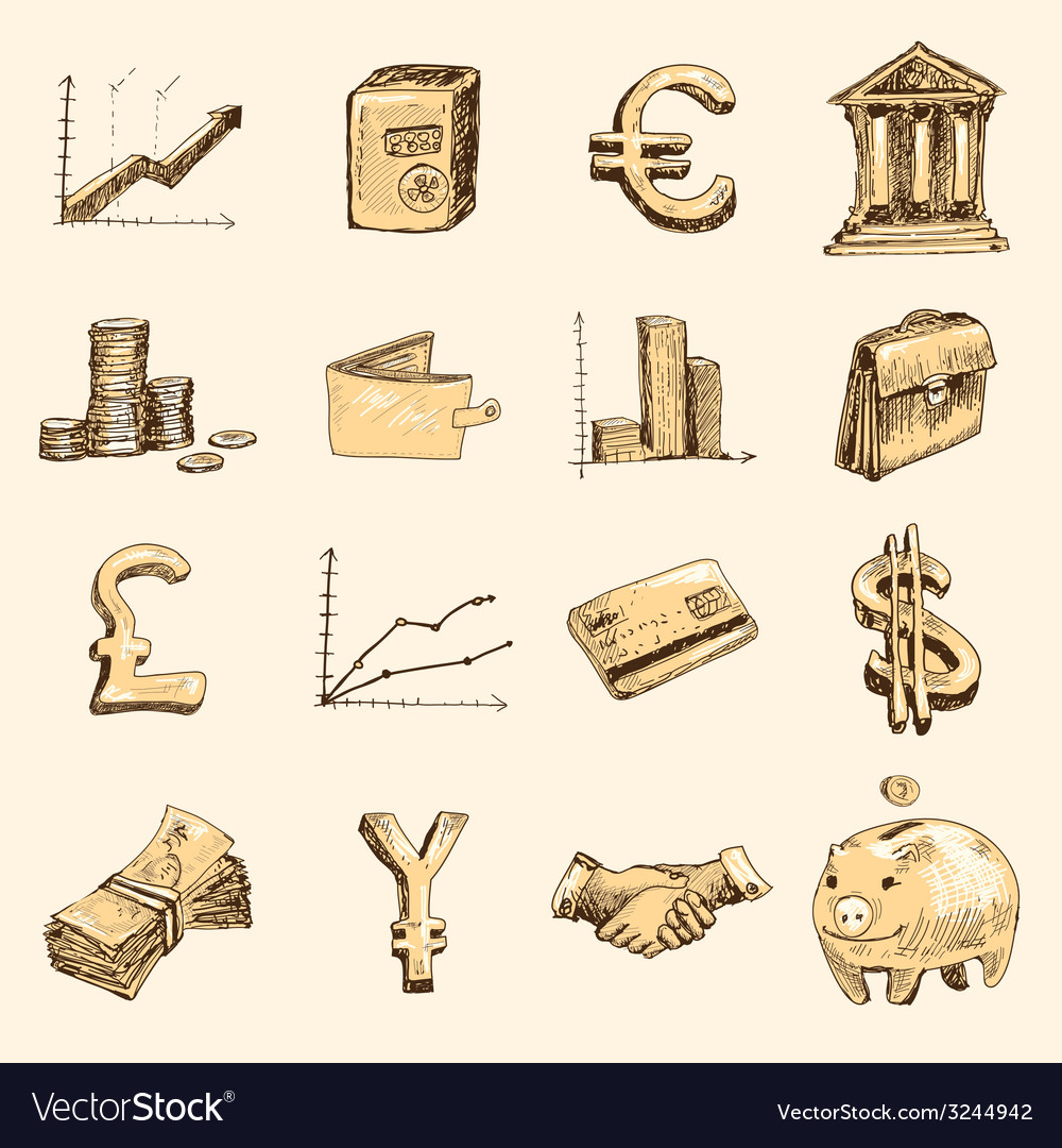 Finance icons set sketch gold