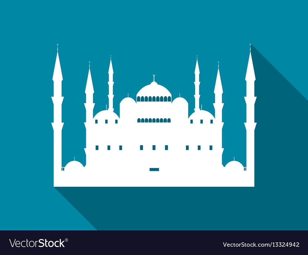 Mosque with a long shadow blue mosque flat icon