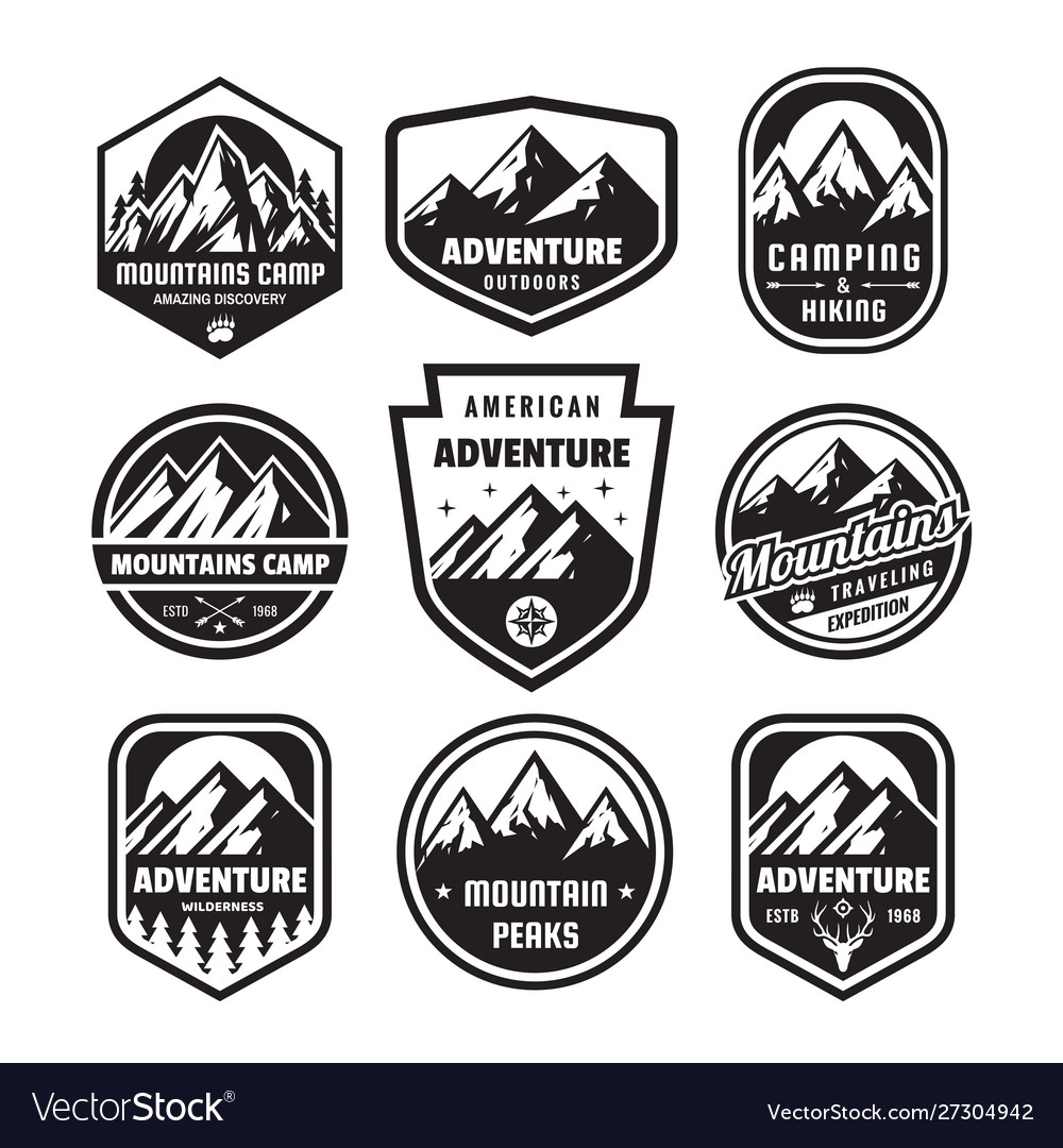 Set adventure outdoor concept badges camping