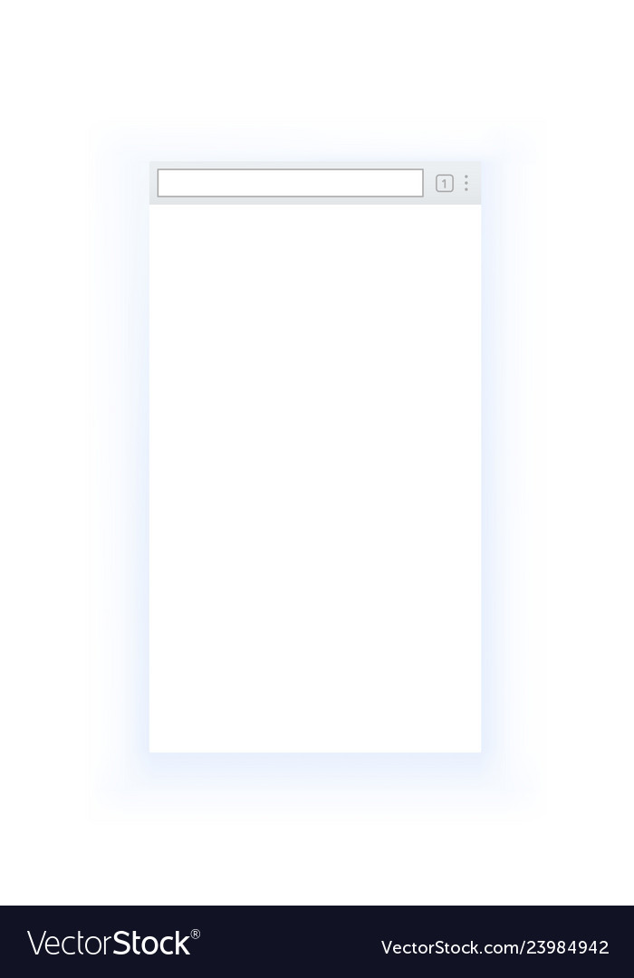 Simple style blank mobile browser window isolated
