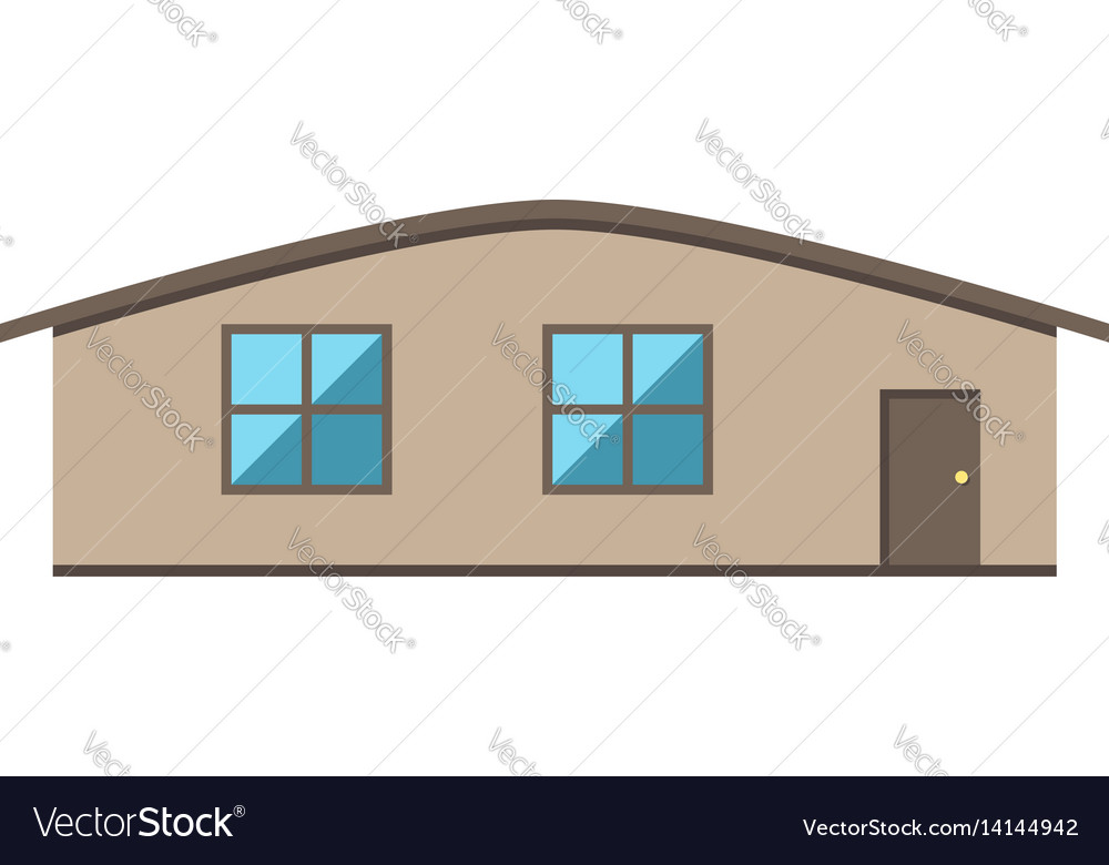 Single-storey house isolated vector image