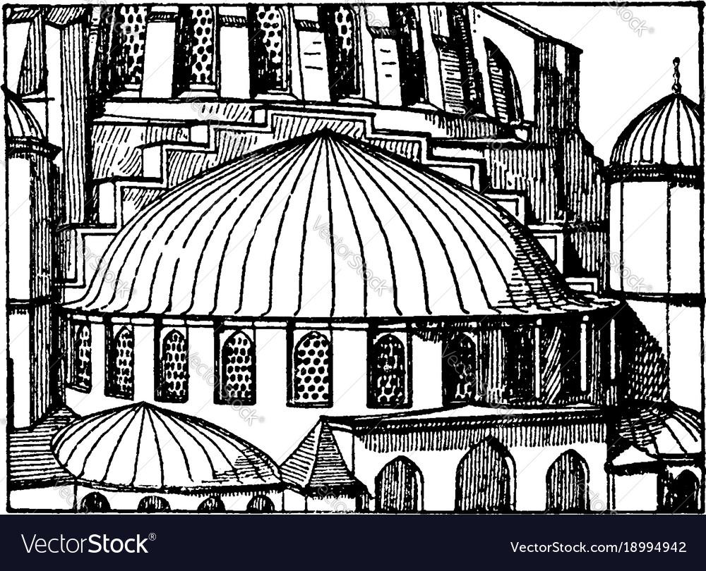 Suleimani mosqueapse semi-dome vintage engraving