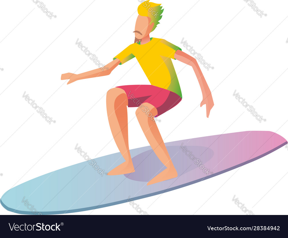 Surfer on surf boards catching waves in the