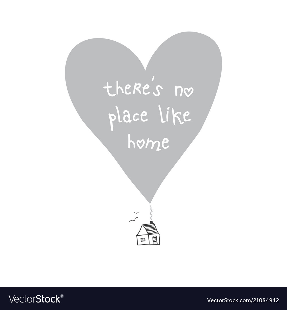 there is no place like home quote card royalty vector