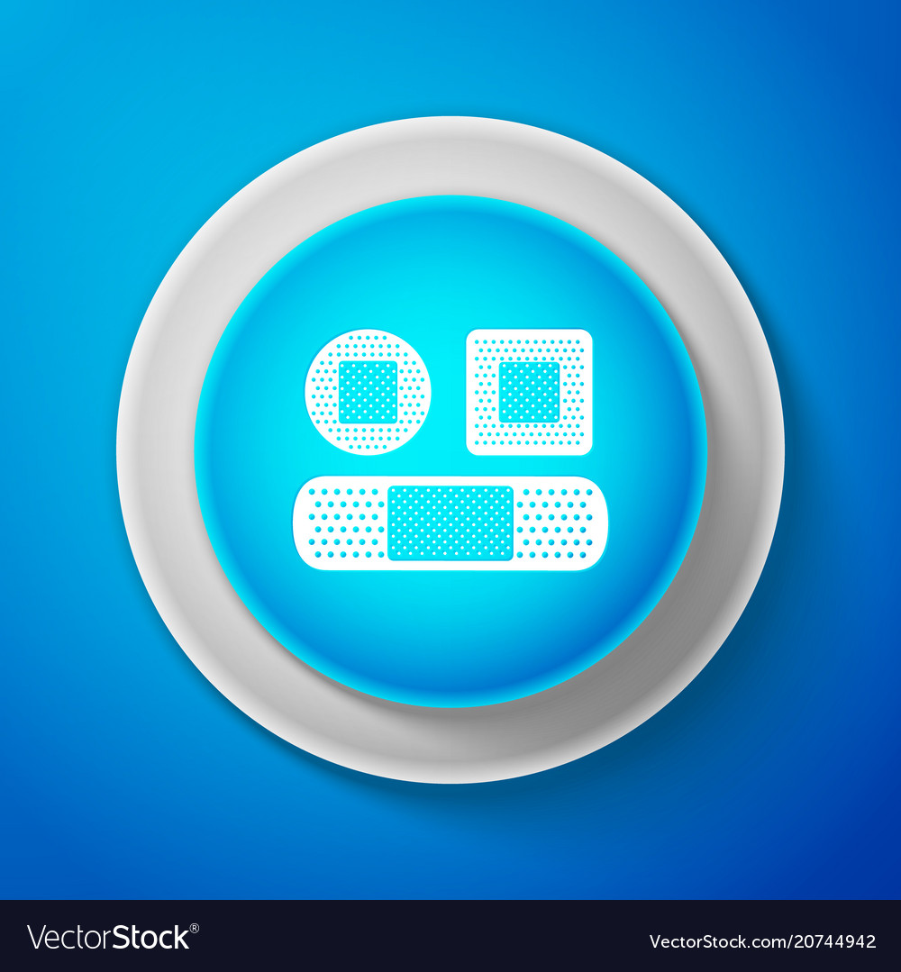 White set bandage plaster icon on blue background vector image