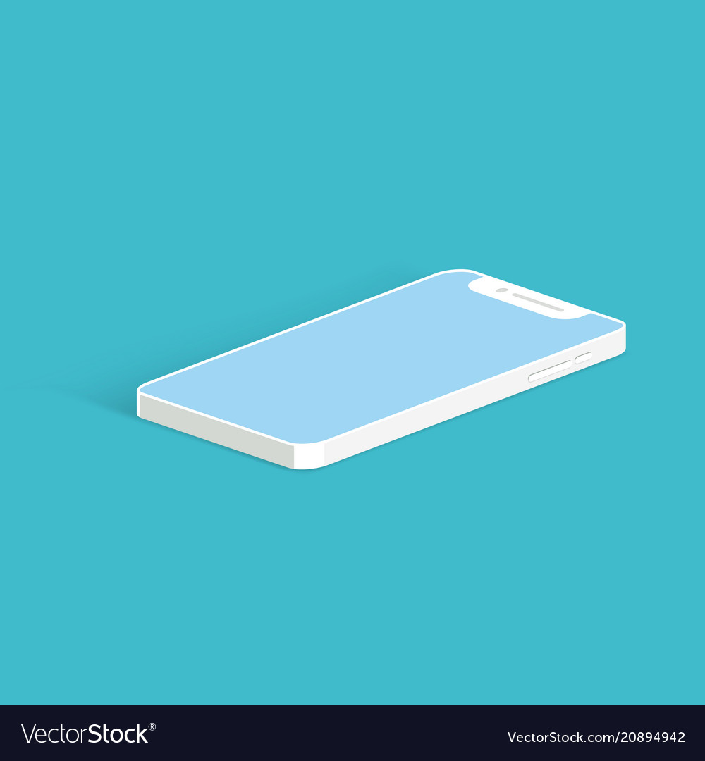 White smartphone mockup on the blue background