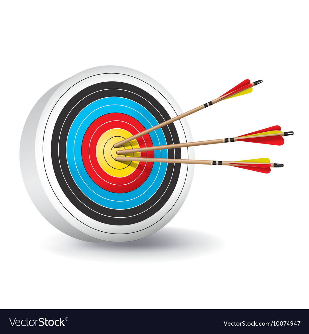 Archery Target With Arrows In The Bullseye Vector Image