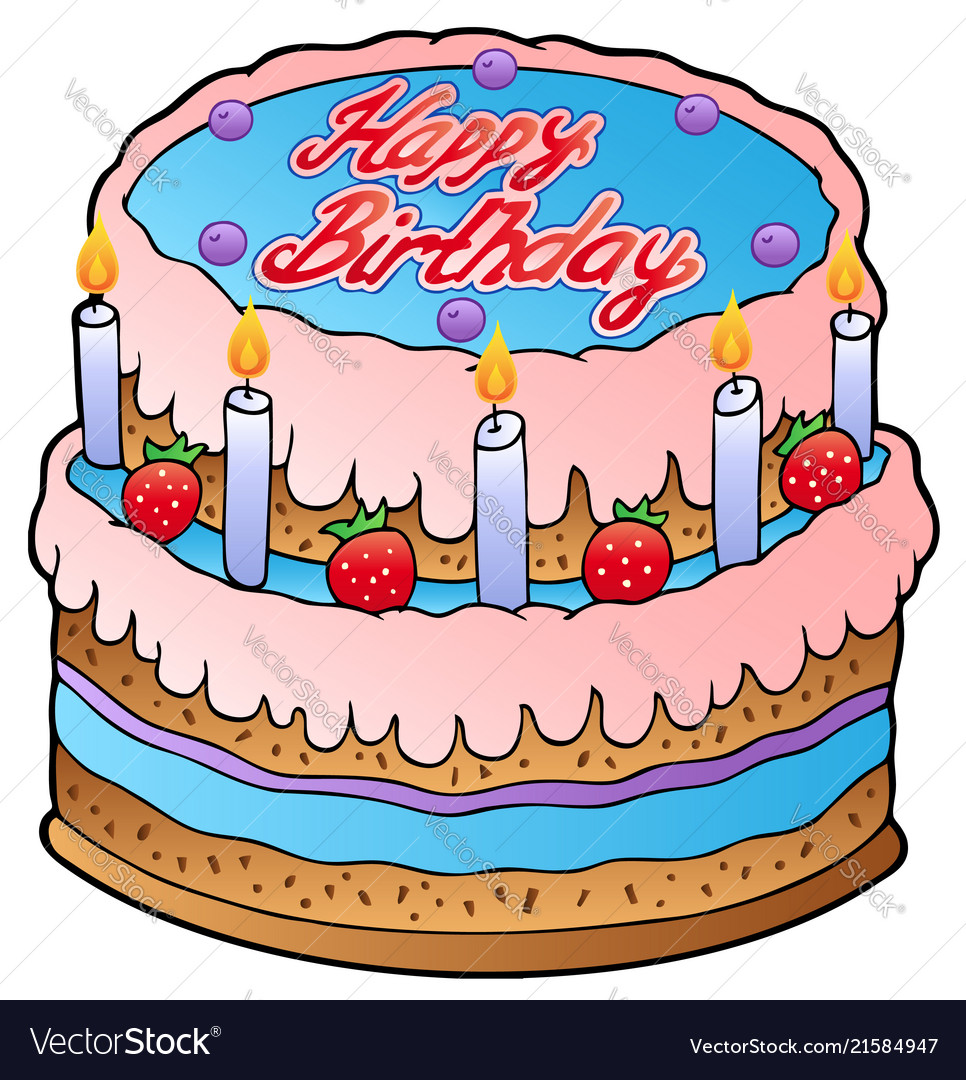 Birthday cake with strawberries