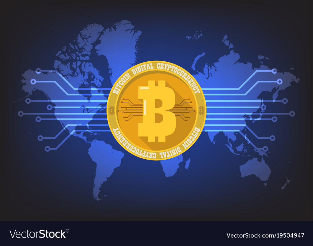 Bitcoin digital cryptocurrency with world map vector image gumiabroncs