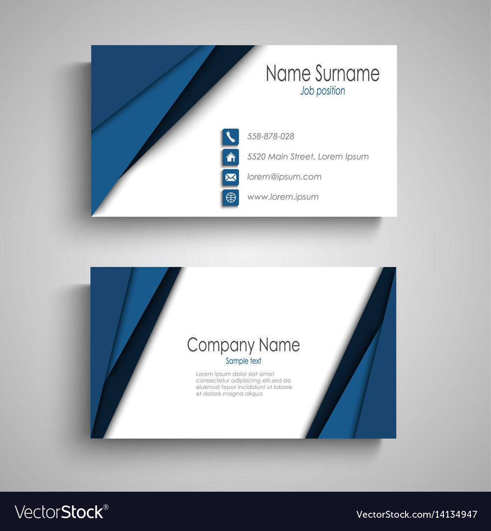 business card with blue triangular stripes vector image