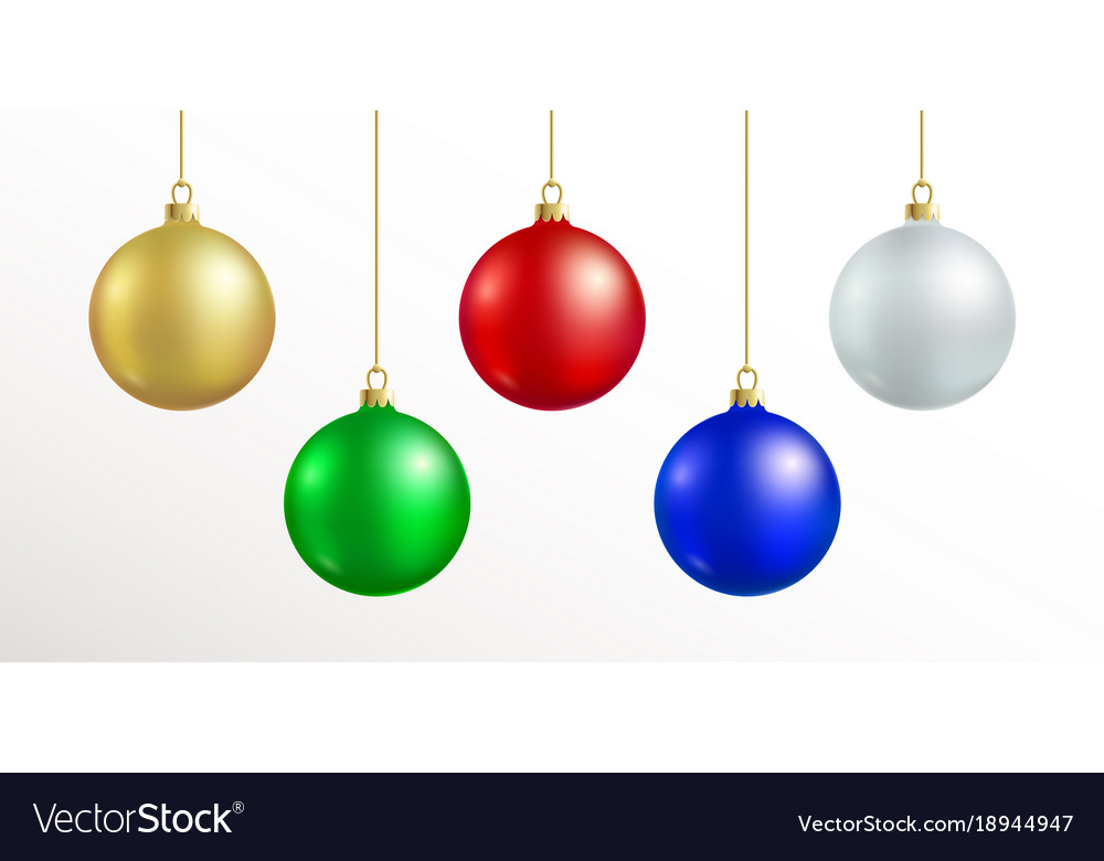 christmas decoration red blue silver gold vector image - Red And Silver Christmas Decorations