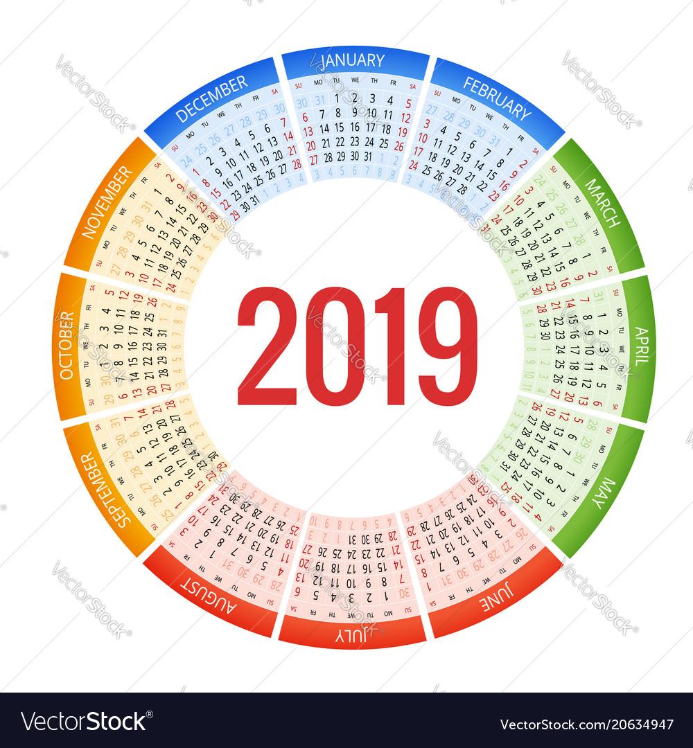 Year Round Calendar 2019 2019, Round & Calender Vector Images (58)