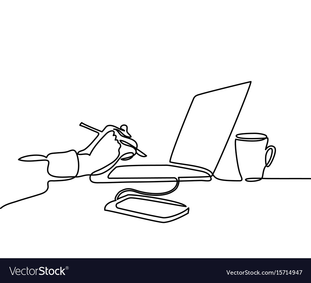 Continuous line drawing of laptop computer coffee vector image