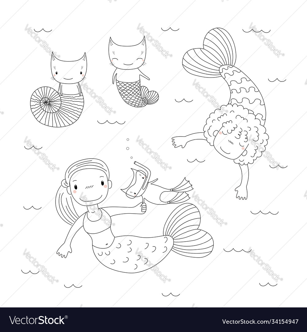 Cute Mermaids Coloring Pages Royalty Free Vector Image