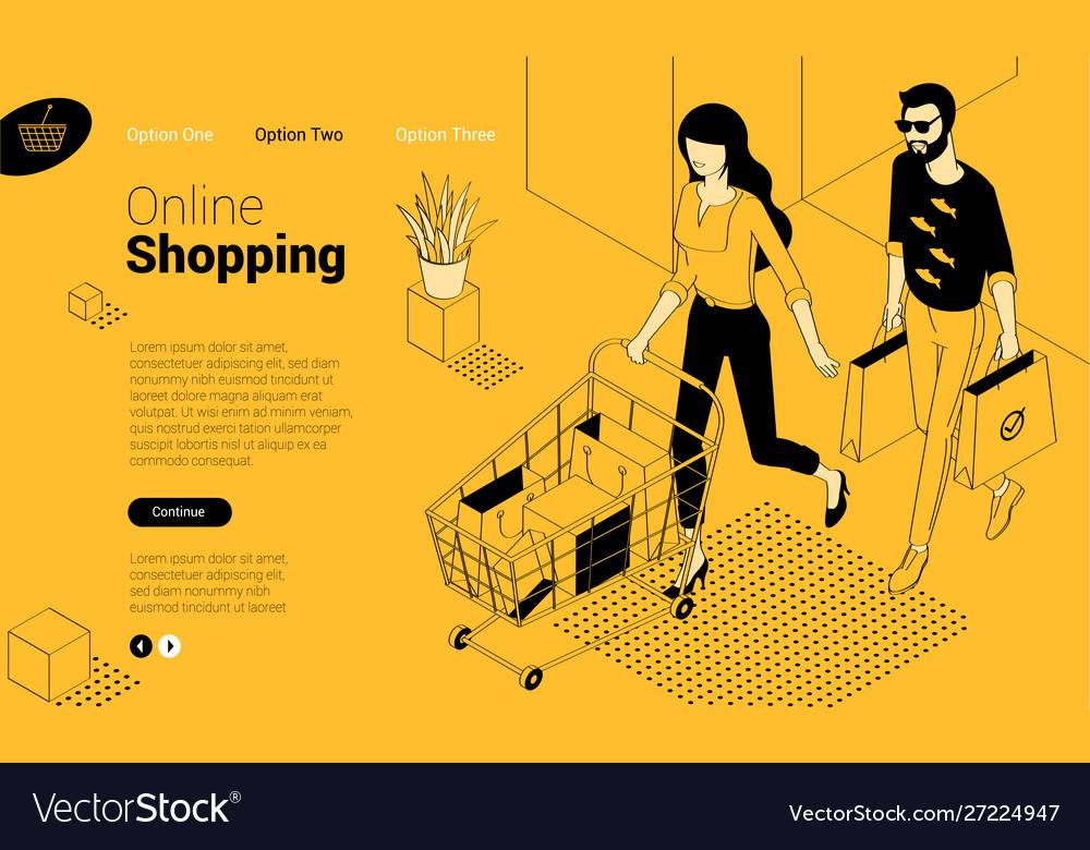 Flat design online shopping template