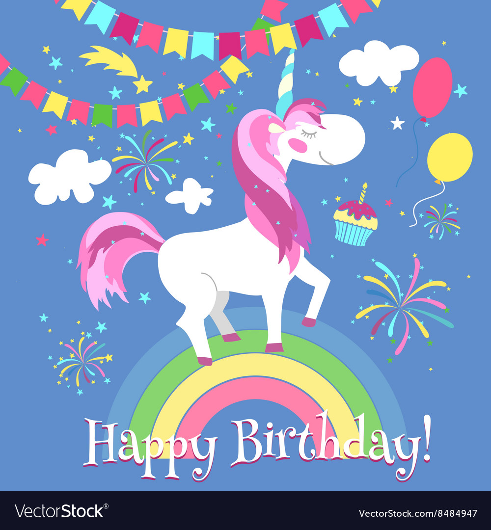 Happy Birthday Card With Cute Unicorn Vector Image