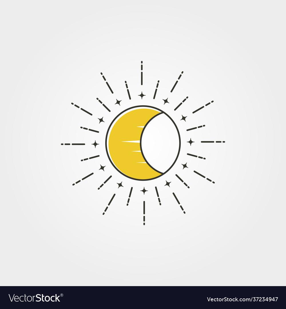 Moon with sun creative logo icon symbol design