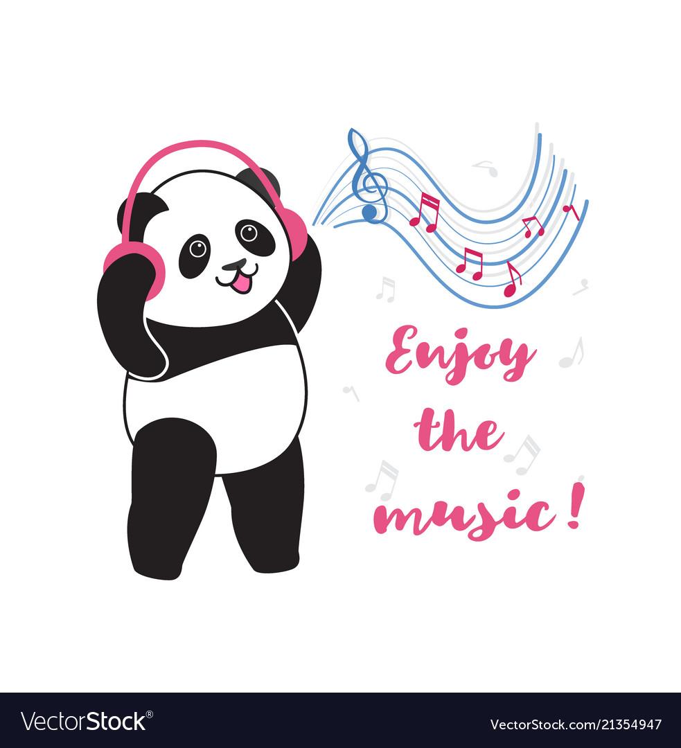 ff3bafa684e5c7 Panda with headphones listening to music Vector Image