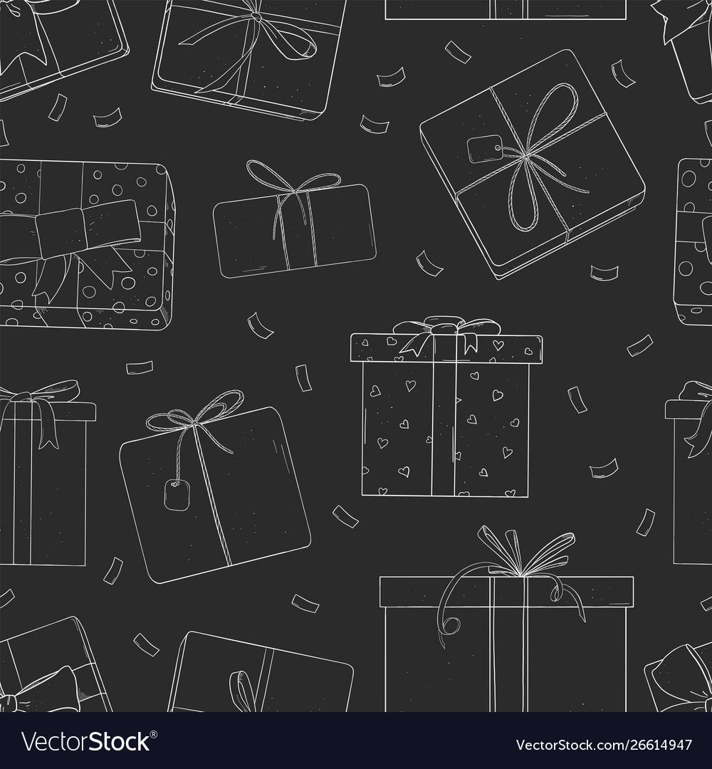 Pattern with gift boxes on black background