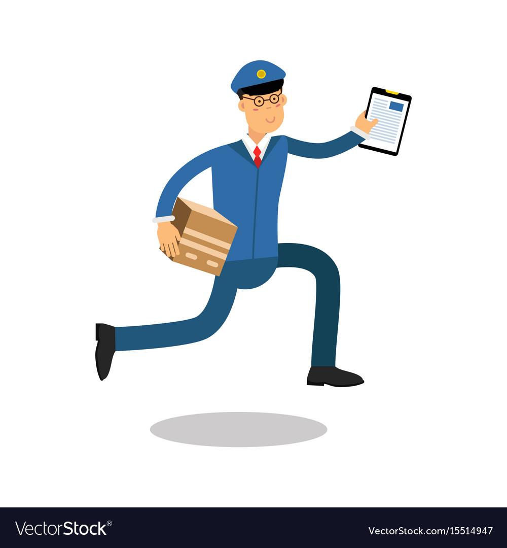 Postman in blue uniform with clipboard running