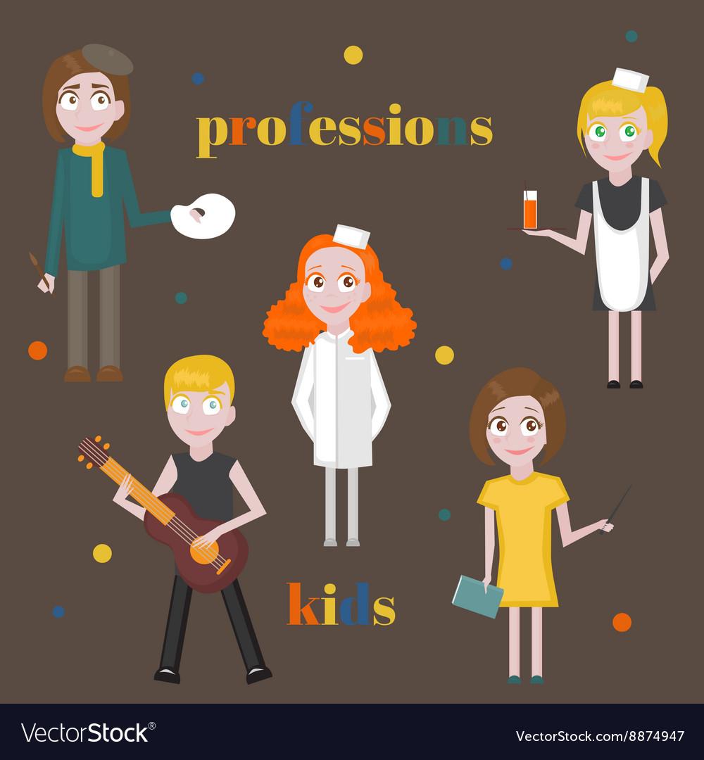 Profession icons set Profession for kids cartoon