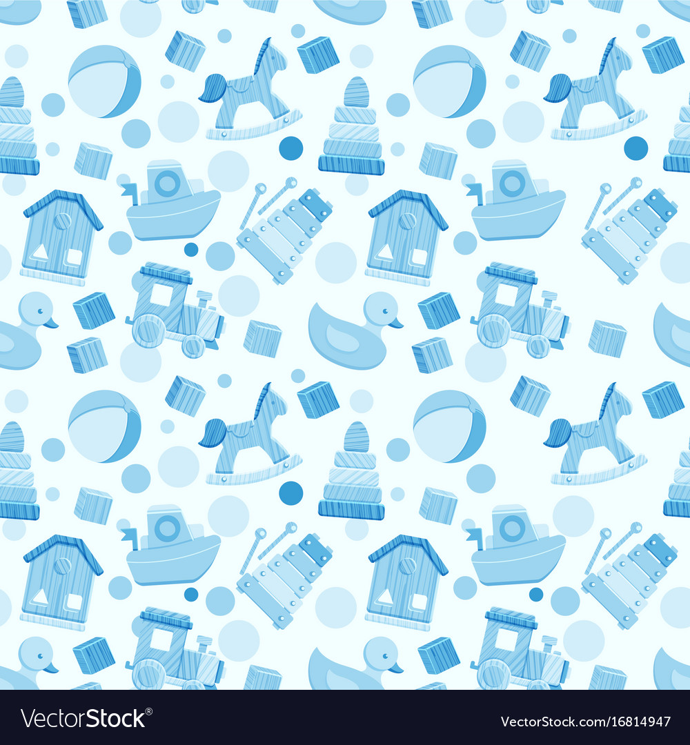 Seamless Pattern With Baby Boy Toys Royalty Free Vector