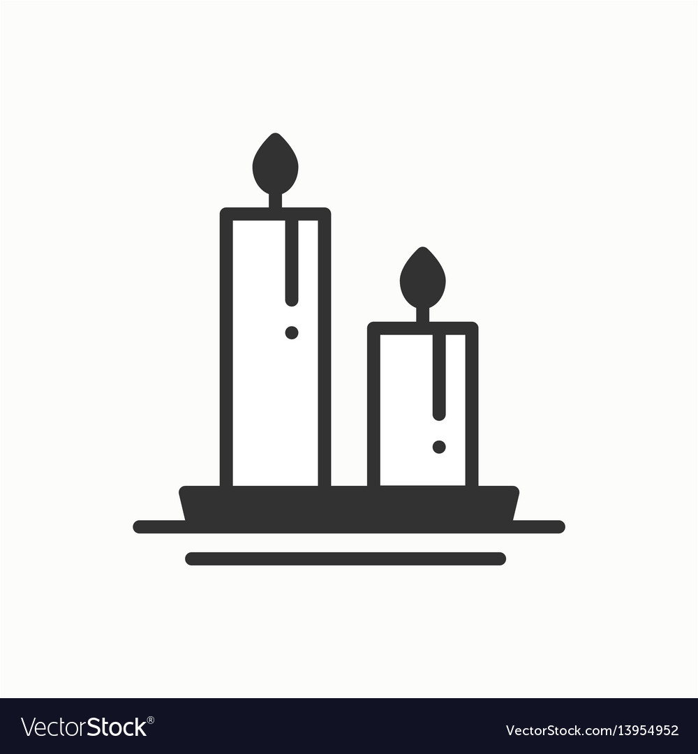 Candle line outline icon two burning candles with vector image