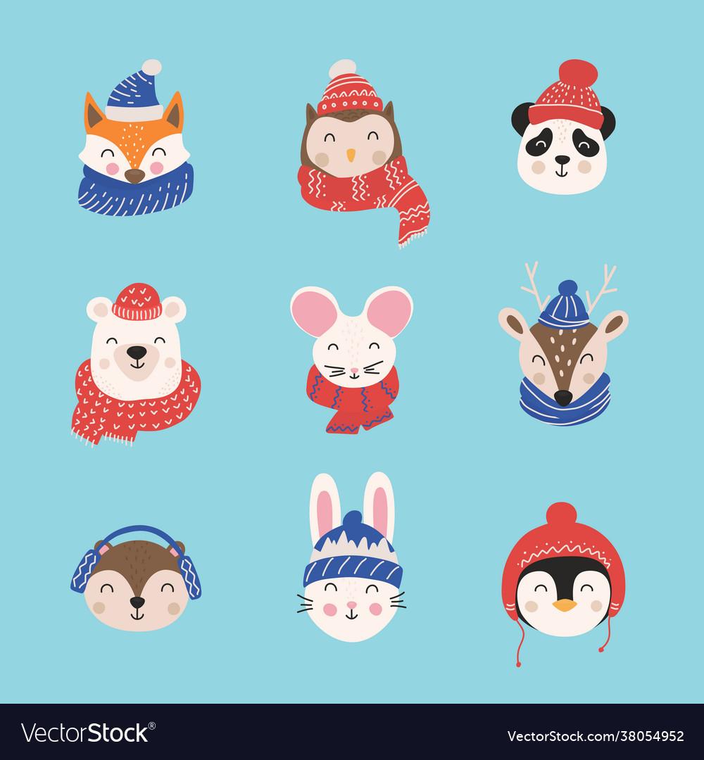 Cartoon cute animals with christmas hats