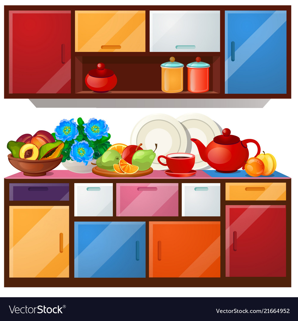 Colored kitchen cupboard dishes and fresh fruit