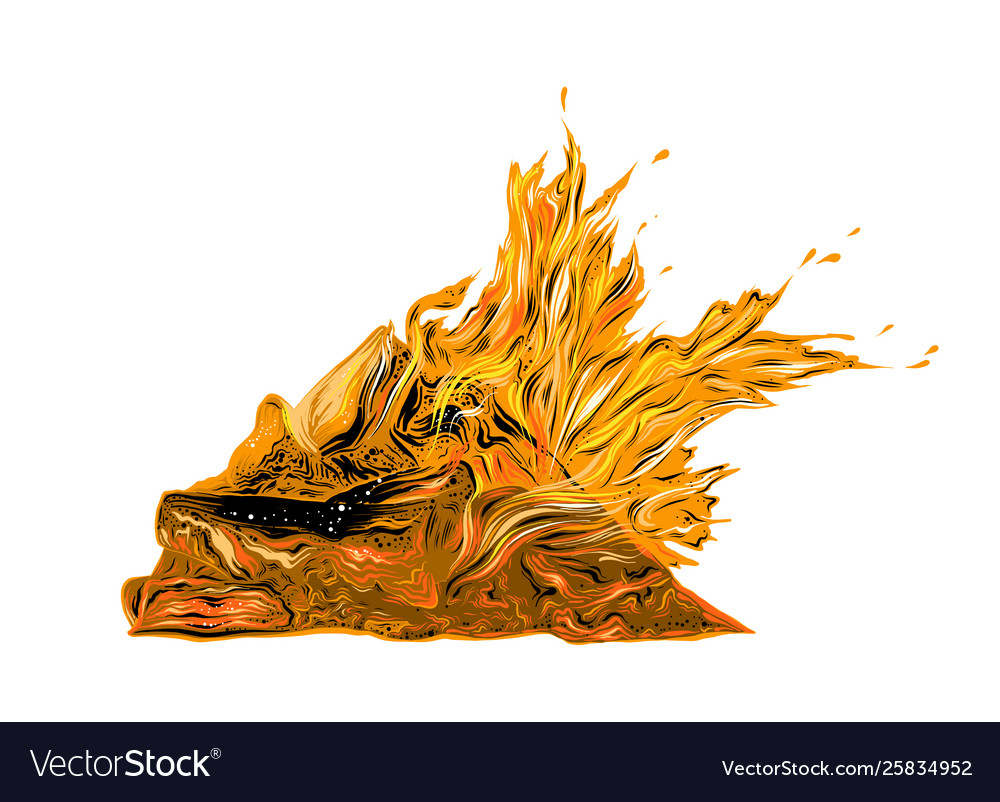 Drawing bonfire in color isolated on