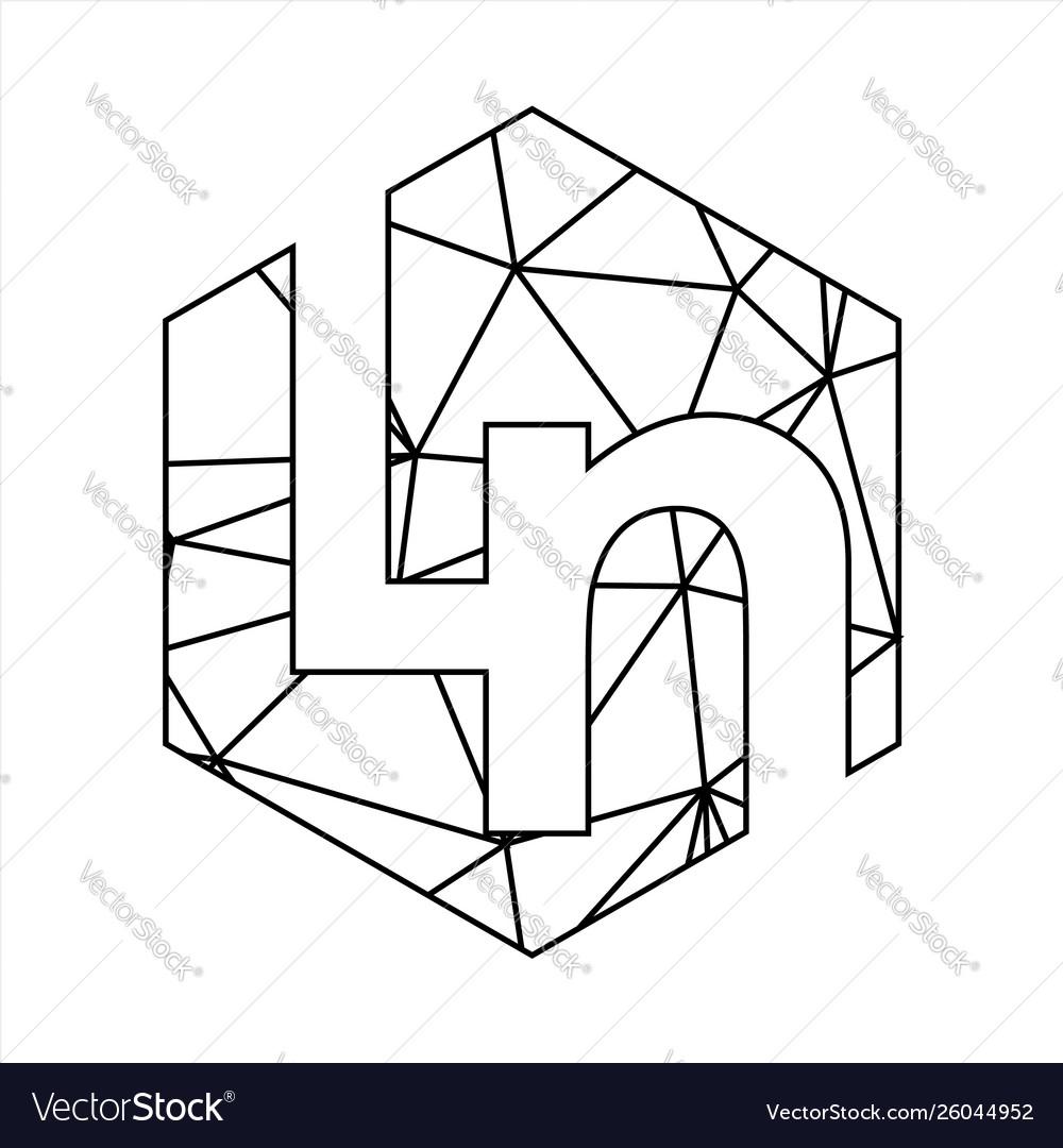 Ln geometric triangle block chain font