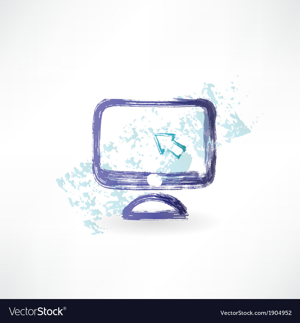 Monitor with cursor grunge icon