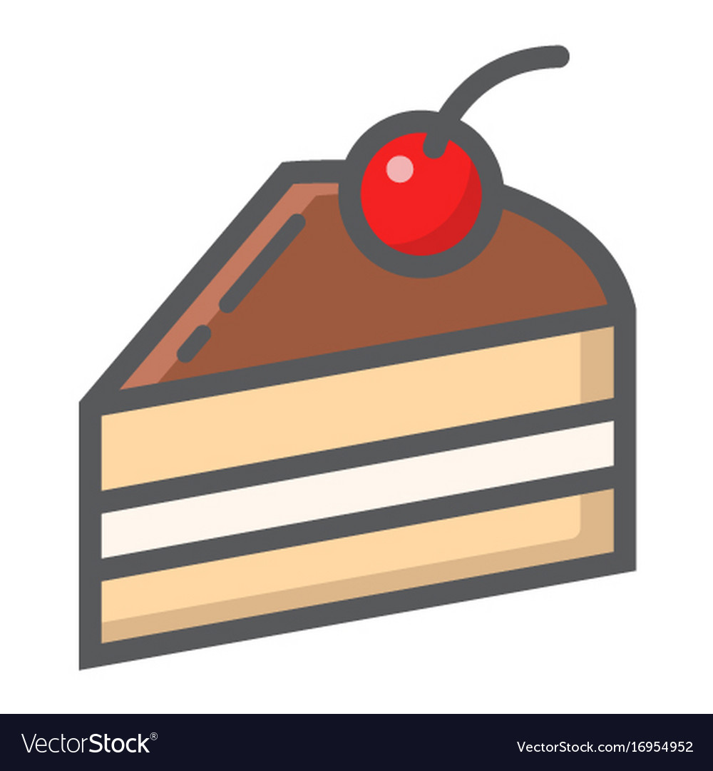 Piece of cake filled outline icon food and drink
