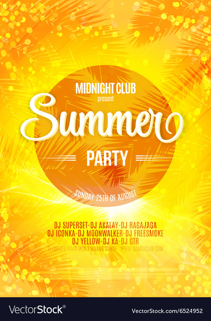 Summer Party bright poster on a bokeh backdrop vector image