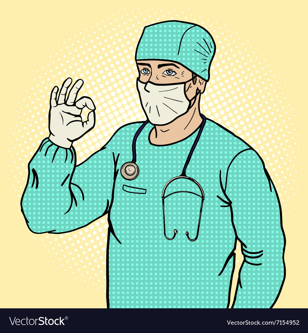 Surgeon shows ok sign pop art style vector image